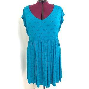 3X TORRID Stretchy Blue Retro Glasses Skater Dress